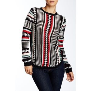 TOWNSEN Black Ikat Knitted Crewneck Sweater